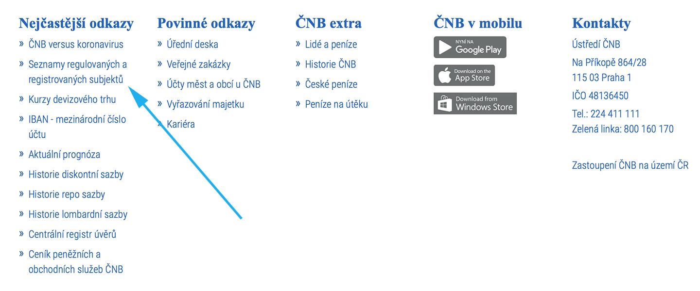 Krok 1. z webu cnb.cz