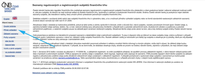 Krok 2. z webu cnb.cz
