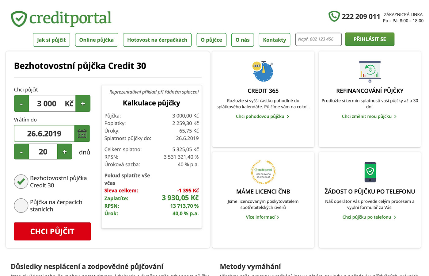 Náhled webu https://www.creditportal.cz/cs/kb/hotovostni-pujcka-na-cerpackach