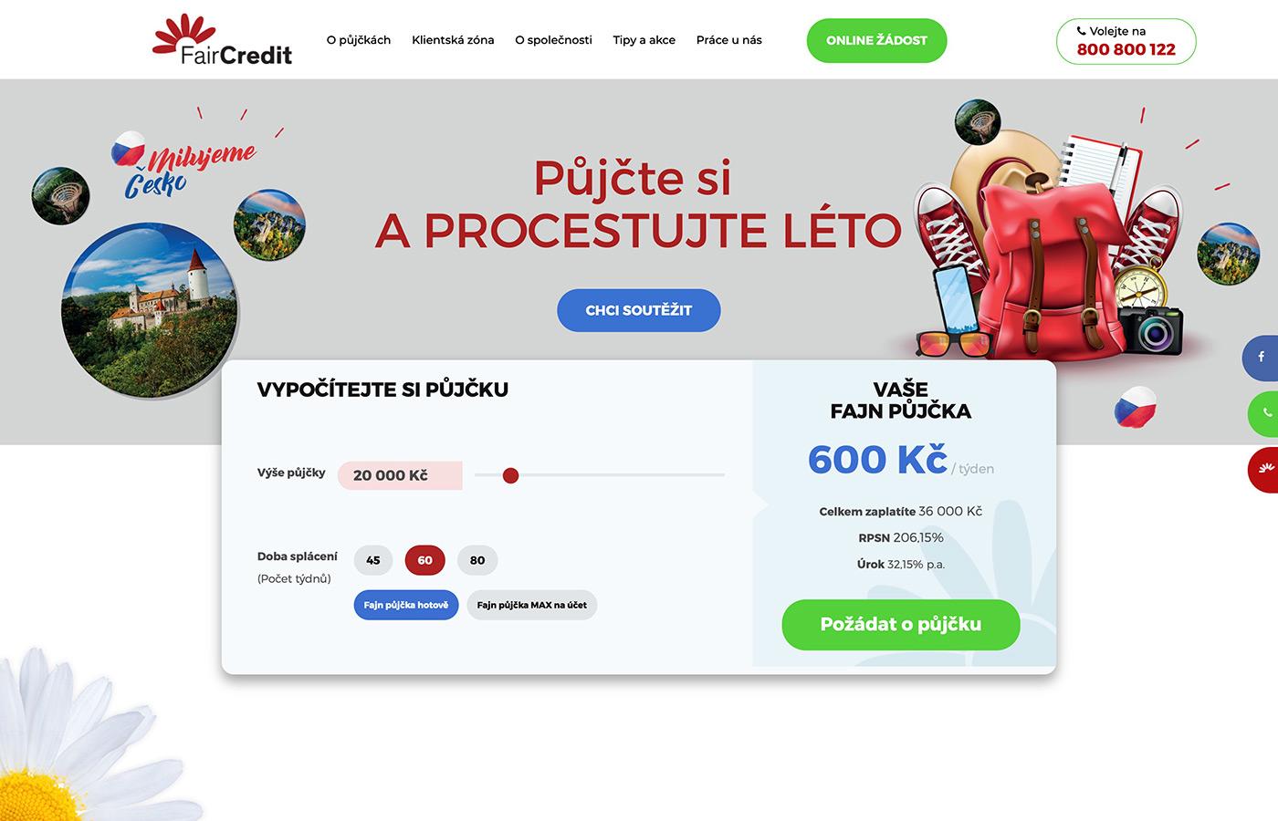 Náhled webu https://www.faircredit.cz