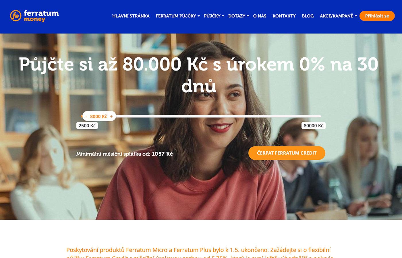 Náhled webu https://www.ferratum.cz