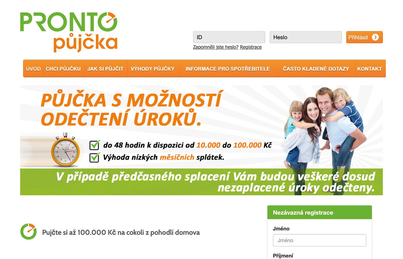 Náhled webu https://prontopujcka.cz