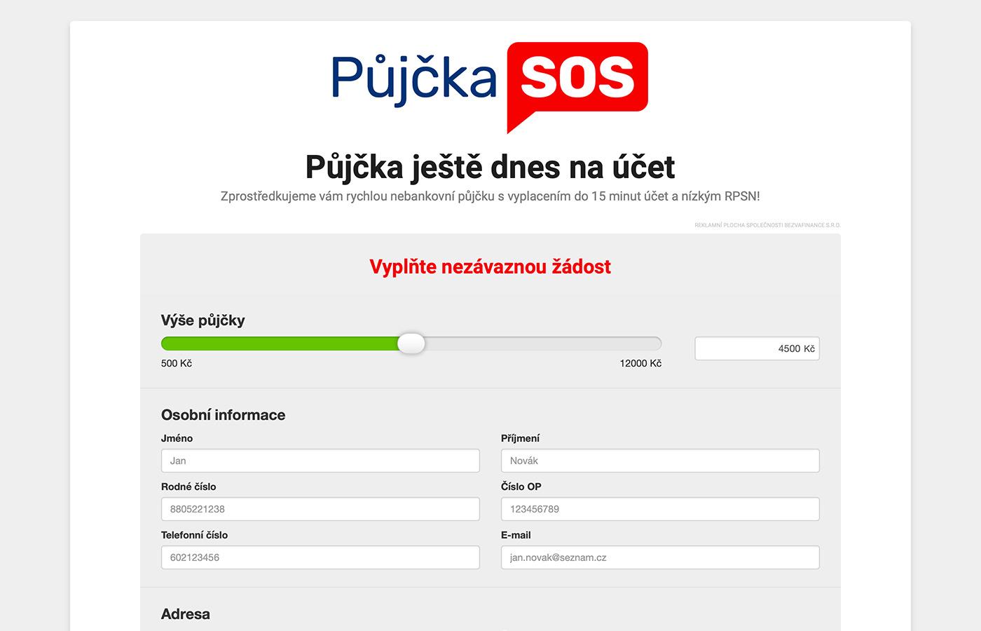Náhled webu https://www.pujckasos.cz