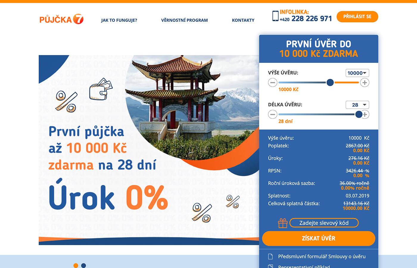 Náhled webu https://www.pujcka7.cz