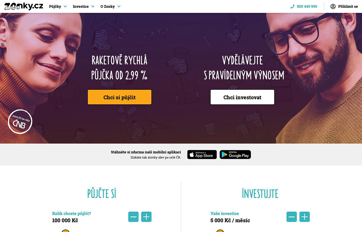Náhled webu https://www.zonky.cz